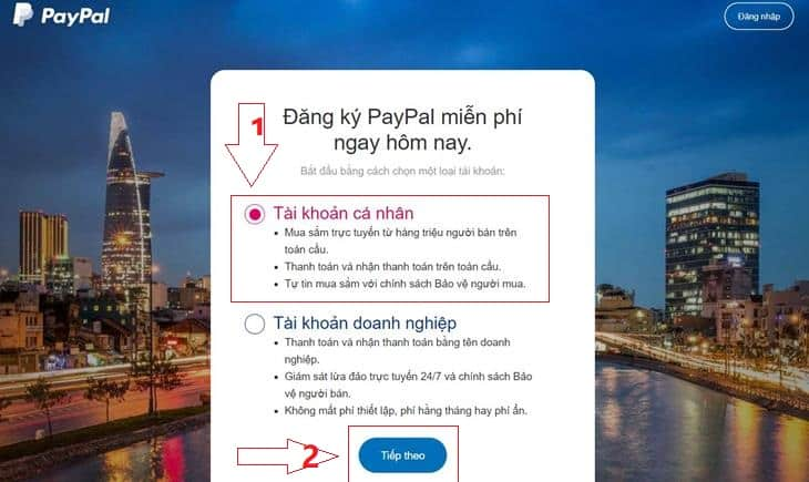 dang ky sign up tai khoan paypal
