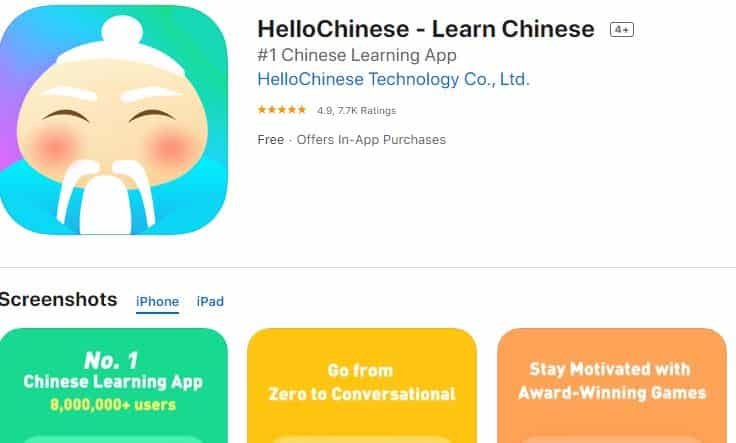 Hướng dẫn HelloChinese cho IOS Iphone